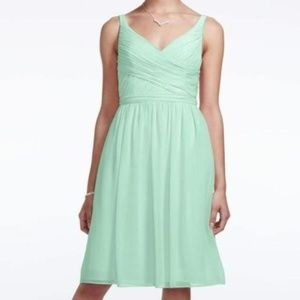David's Bridal Short Chiffon V-Neck Dress 10